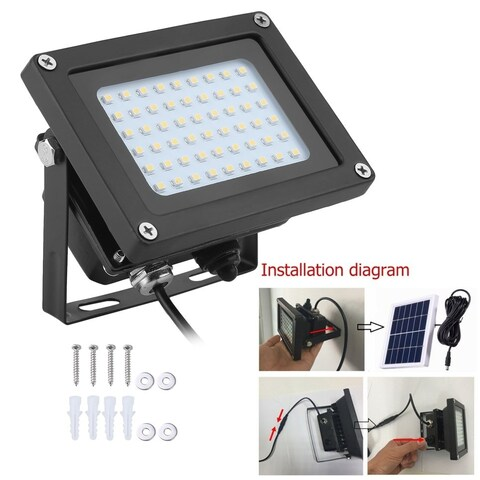 Waterproof IP65 Solar Power 54 LED Light Garden Outdoor Flood Spot Lamp - Warm White