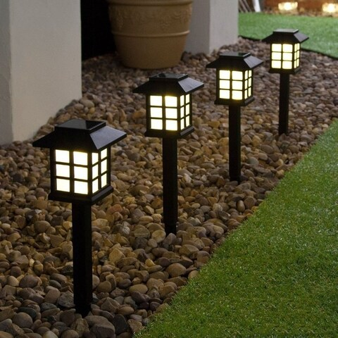 4PCS White LED Solar Powered Lantern Landscape Lights Outdoor Fence Yard Lamp - black&white
