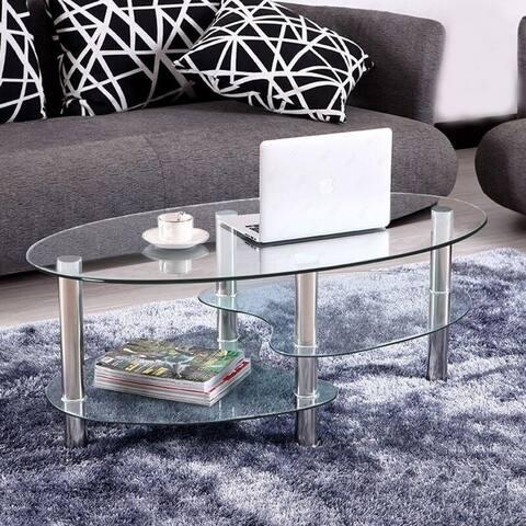 Porch & Den Solana 3-Tier Tempered Glass Shelves Oval Coffee Table