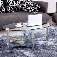 3-Tier Tempered Glass Shelves Oval Side End/ Side/ Coffee Table