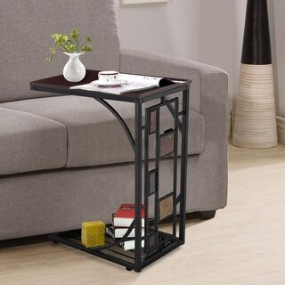 C-shaped Living Room Wood Magazine Side End Coffee Table Brown