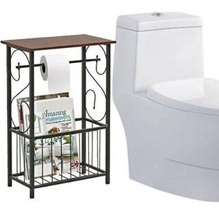 Wood Bath Storage Organizer End/Coffee Table W/Magazine Rack
