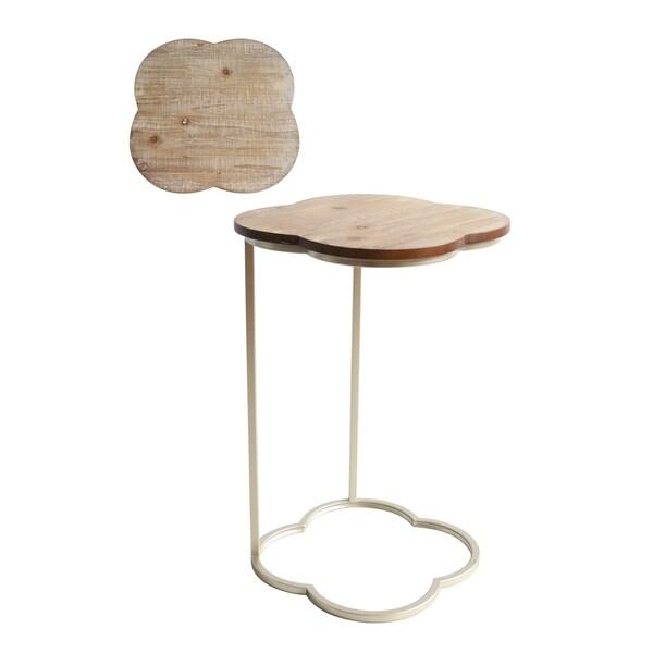 C shape Quatrefoil Metal Table (Set of 2)