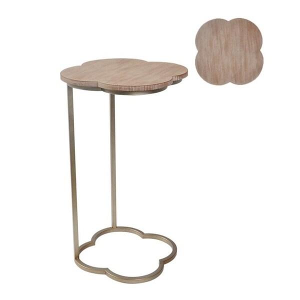 Metal/Wood C Shape Quatrefoil Table