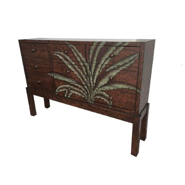 Tropical Walnut Palm Console