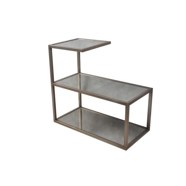 Shop Antique Silver Finish Glass End Table Free Shipping Today