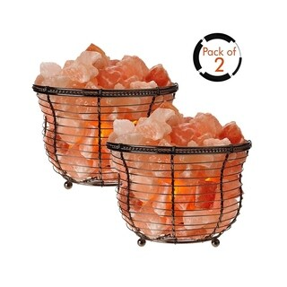 Himalayan Glow Tall Round Basket Lamp 8-10 lbs (Pack of 2)