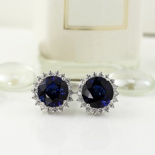 18K White Gold 15 1/4CT Blue Sapphire and 1 7/8ct TDW Diamond Halo Earrings by Auriya - ROYAL BLUE