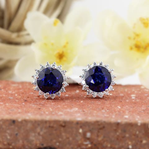 Auriya Unique 8 5/8ct Royal Blue Sapphire and 1 1/4ctw Halo Diamond Stud Earrings 18K Gold