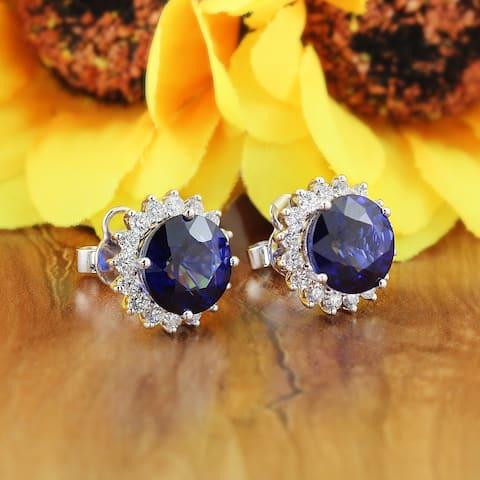 Auriya Unique 8 3/4ct Royal Blue Sapphire and 1 1/4ctw Halo Diamond Stud Earrings 18K Gold