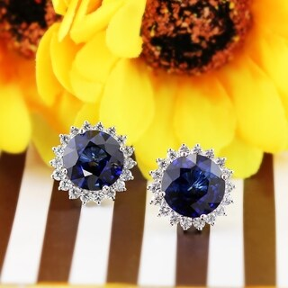 Fancy Round 14CT Royal Blue Sapphire and 1 3/4ct TDW Diamond Halo Stud Earrings in 18K Gold by Auriya