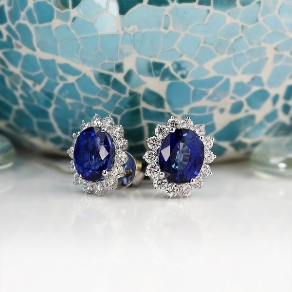 Auriya Fancy 10 3/4ct Royal Blue Sapphire Oval and 2 3/8ctw Halo Diamond Stud Earrings 18K Gold