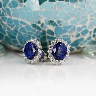 Fancy Oval Shaped 10 3/4ct Royal Blue Sapphire and 2 3/8ct TDW Diamond Halo Stud Earrings in 18K Gold by Auriya
