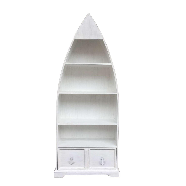 Distressed White Boat Bookcase