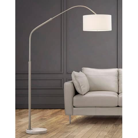 """Aero 81""""H Retractable Brushed Nickel Arch Floor Lamp with White Shade"""