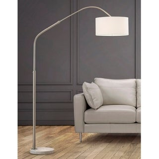 HomeGlam Aero Retractable Brushed Nickel and Marble 81-inch High Arch Floor Lamp with White Shade
