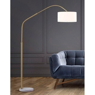 "Link to Aero  81""H Retractable  Antique Brass Arch Floor Lamp with White Shade Similar Items in Floor Lamps"