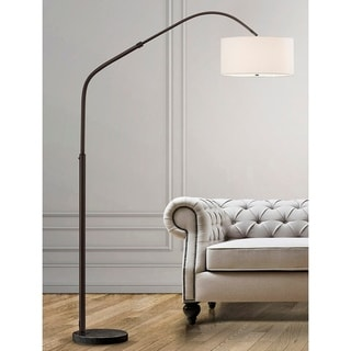 "Link to Aero  81""H Retractable Dark Bronzel Arch Floor Lamp with White Shade Similar Items in Floor Lamps"