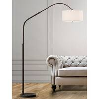 HomeGlam Aero Dark Bronze Finish and Marble 81-inch Retractable Arch Floor Lamp with White Fabric Shade