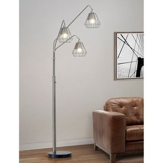HomeGlam Midtown Brushed Metal and Marble Wire Shade 3-light Wire Dimmable LED Dimmable Arch Floor Lamp