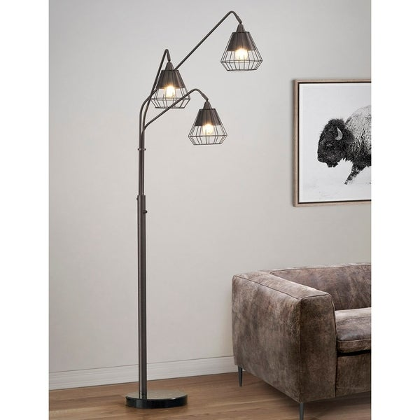 Shop Midtown 3 Light Wire Shades Led Dimmable Arch Floor Lamp With Edison Led Bulbs Dark Bronze