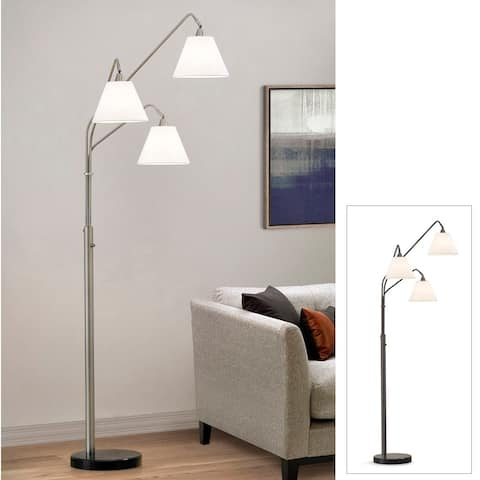 Midtown 3 Light Arch Floor Lamp with Fabric Shades