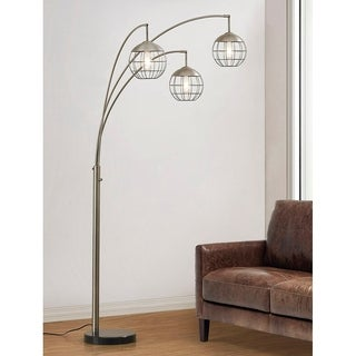 HomeGlam Metro 3-light Marble and Brushed Steel Finish Wire Shades LED Dimmable Arch Floor Lamp with LED Edison Bulbs
