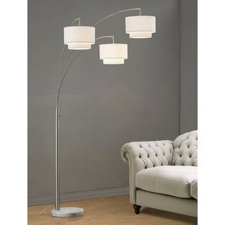 Link to Broadway  3 Light Arch Floor Lamp, Brushed Nickel Finish with White Shades Similar Items in Floor Lamps
