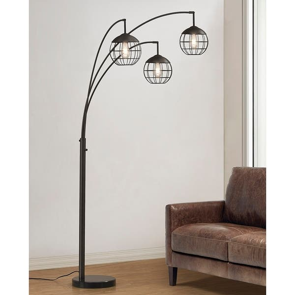 Metro 3 Light Wire Shades Led Dimmable Arch Floor Lamp With Edison Bulbs Dark Bronze Finish