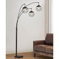 Metro  3 Light Wire Shades LED Dimmable  Arch Floor Lamp with LED Edison Bulbs, Dark Bronze Finish