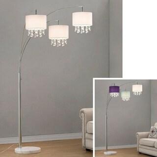 HomeGlam Palace Chrome and Crystal 3-light Arch Floor Lamp
