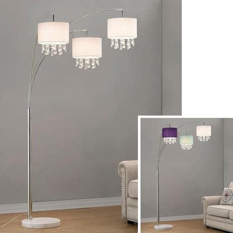 Silver Orchid Ferrari 3-light Crystal Pendants Arch Floor Lamp