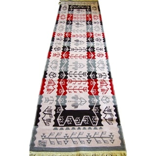 Double Sided Runner Rugs  Red Black Grey Cream - 2'8 x 10'