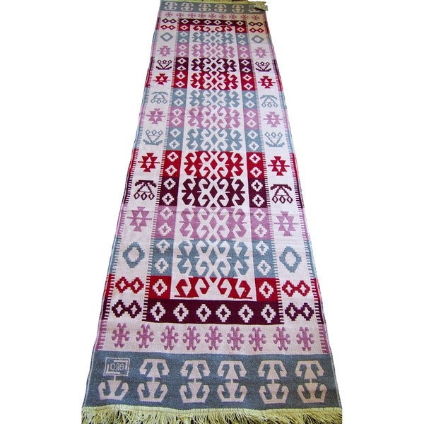 "Double Sided Runner Rugs -Pink Red Cream - 2'8"" x 10'"