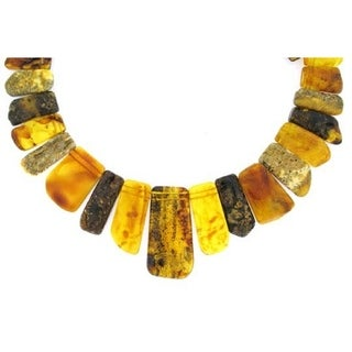 14 k Yellow Gold Multi Color Amber Necklace by Pearl Lustre