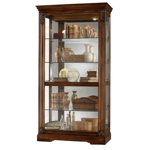 Howard Miller Andreus Elegant European Style 5 Shelf Tall Living Room, Dining Room, Solid Wood and Glass Tuscany Curio Cabinet