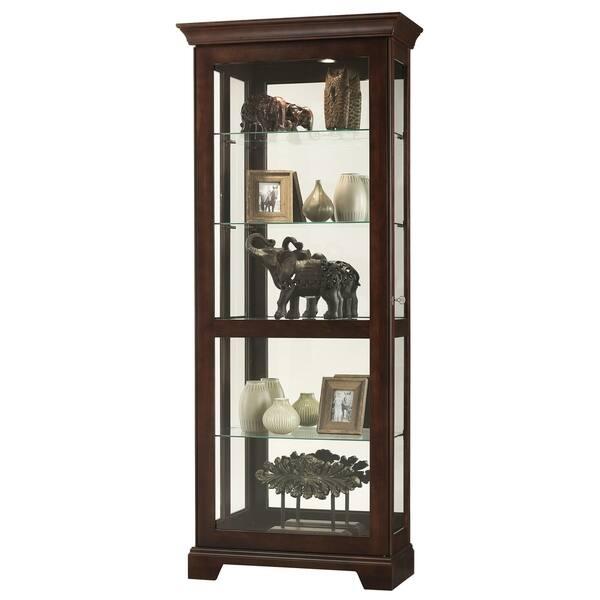 Howard Miller Berends Iii Dark Brown Solid Wood Gl Wall Mounted Curio Cabinet
