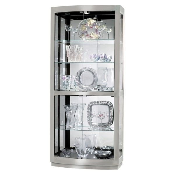 Shop Howard Miller Bradington II Contemporary Metal And Glass 5 Shelf  Living Room Curio Cabinet   Free Shipping Today   Overstock   23449307