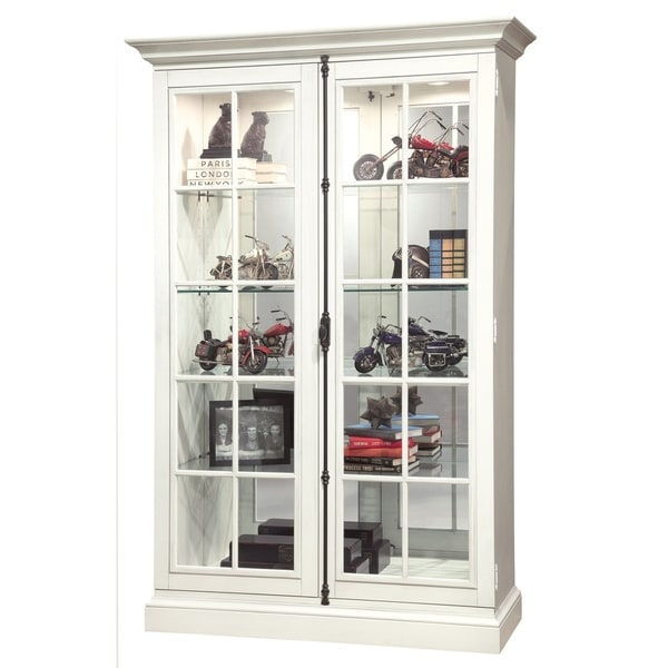 Howard Miller Clawson Iv Farmhouse Chic White Wood Tall 5 Shelf Living Room Curio Cabinet Free Shipping Today 23449314