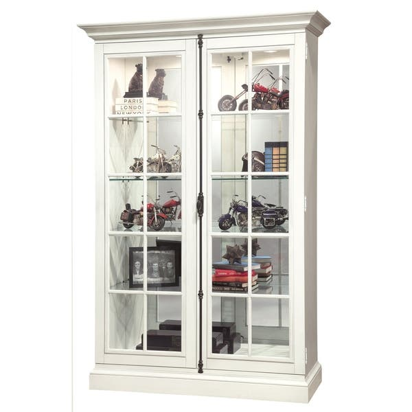 Howard Miller Clawson Iv Farmhouse Chic White Wood Tall 5 Shelf Living Room Curio Cabinet Overstock 23449314