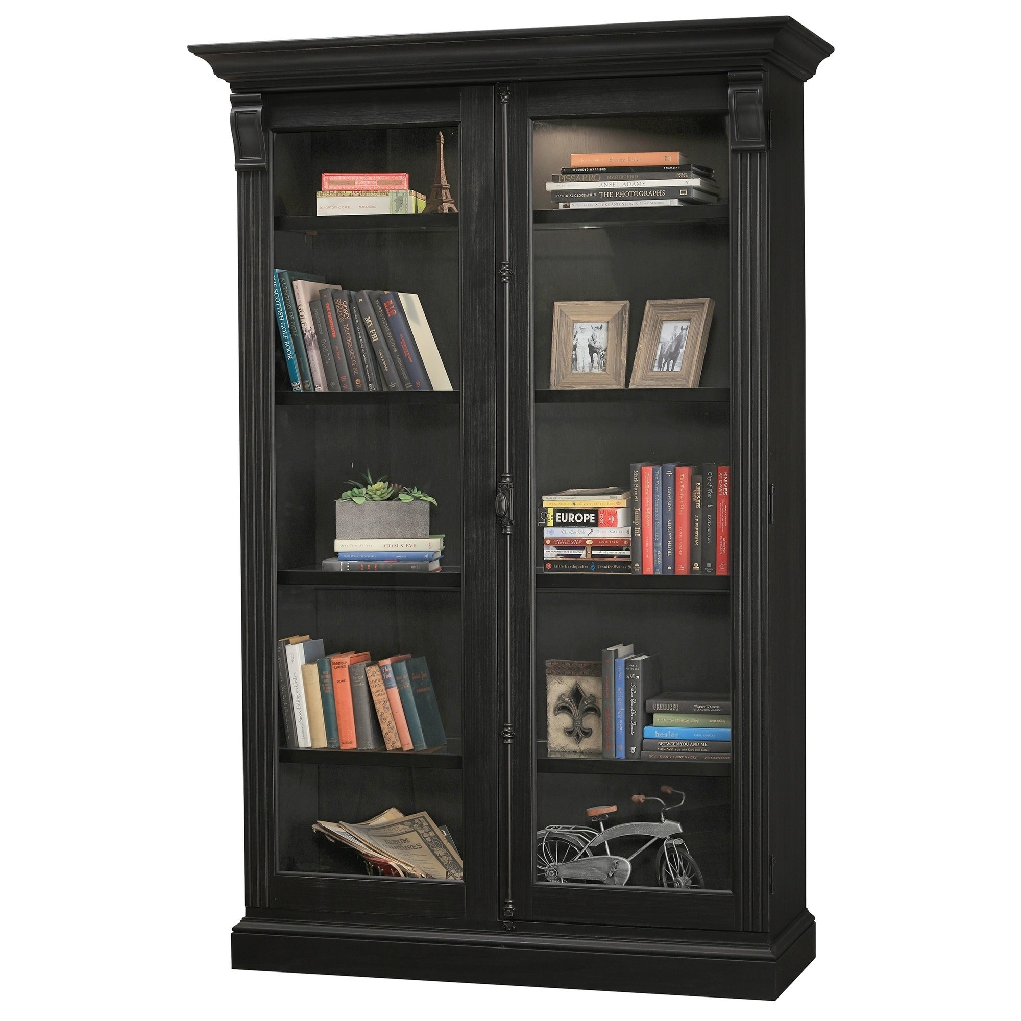 Howard Miller Chadsford IV Aged Black Wood Tall 5-shelf Living Room Curio  Cabinet