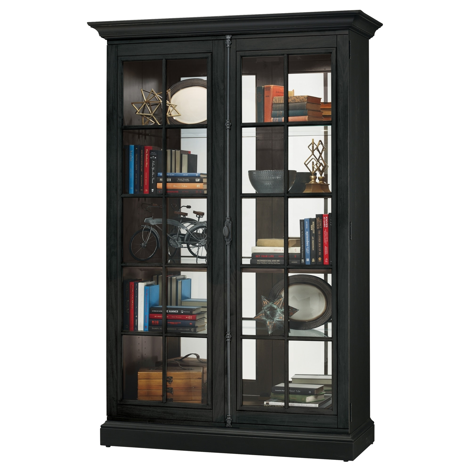 Howard Miller Clawson IV Rich Black Wood Farmhouse Chic Tall 5-shelf Living  Room Curio Cabinet