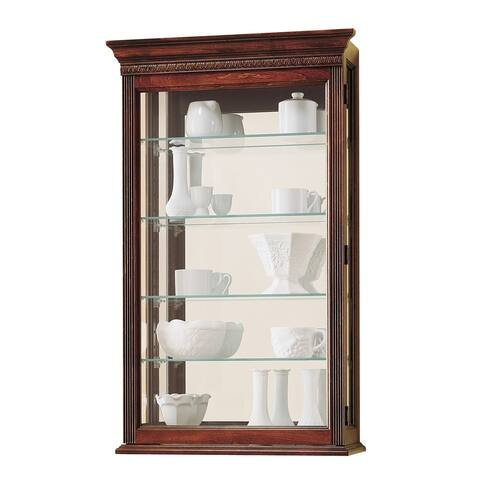 Howard Miller Edmonton Contemporary Farmhouse Chic Medium Brown Solid Wood 5-shelf Wall-mount Curio Cabinet