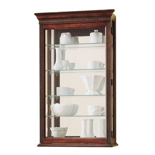 Howard Miller Edmonton Contemporary Farmhouse Chic Medium Brown Solid Wood 5-shelf Wall-mount Curio Cabinet