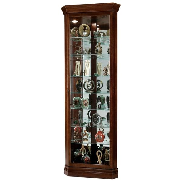 Shop Howard Miller Drake Contemporary Medium Brown Wood 8 Shelf Corner Curio  Cabinet   Free Shipping Today   Overstock   23449343