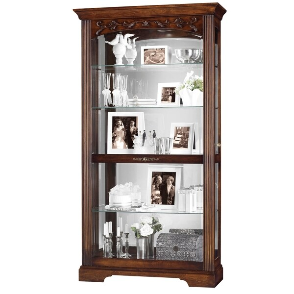 Howard Miller Hartland Contemporary Farmhouse Chic Detailed Solid Wood Medium Brown Large 5 Shelf Living Room Curio Cabinet Free Shipping Today