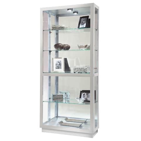 Howard Miller Jayden II Coastal Silver Wood Tall 5-shelf Contemporary Modern Sleek and Chic Living Room Curio Cabinet
