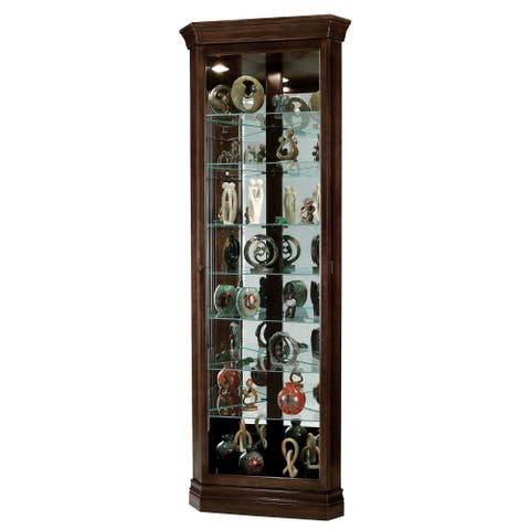 Howard Miller Dustin Contemporary, Modern, Transitional Chocolate Brown Wood Tall 8-Shelf Living Room Corner Curio Cabinet