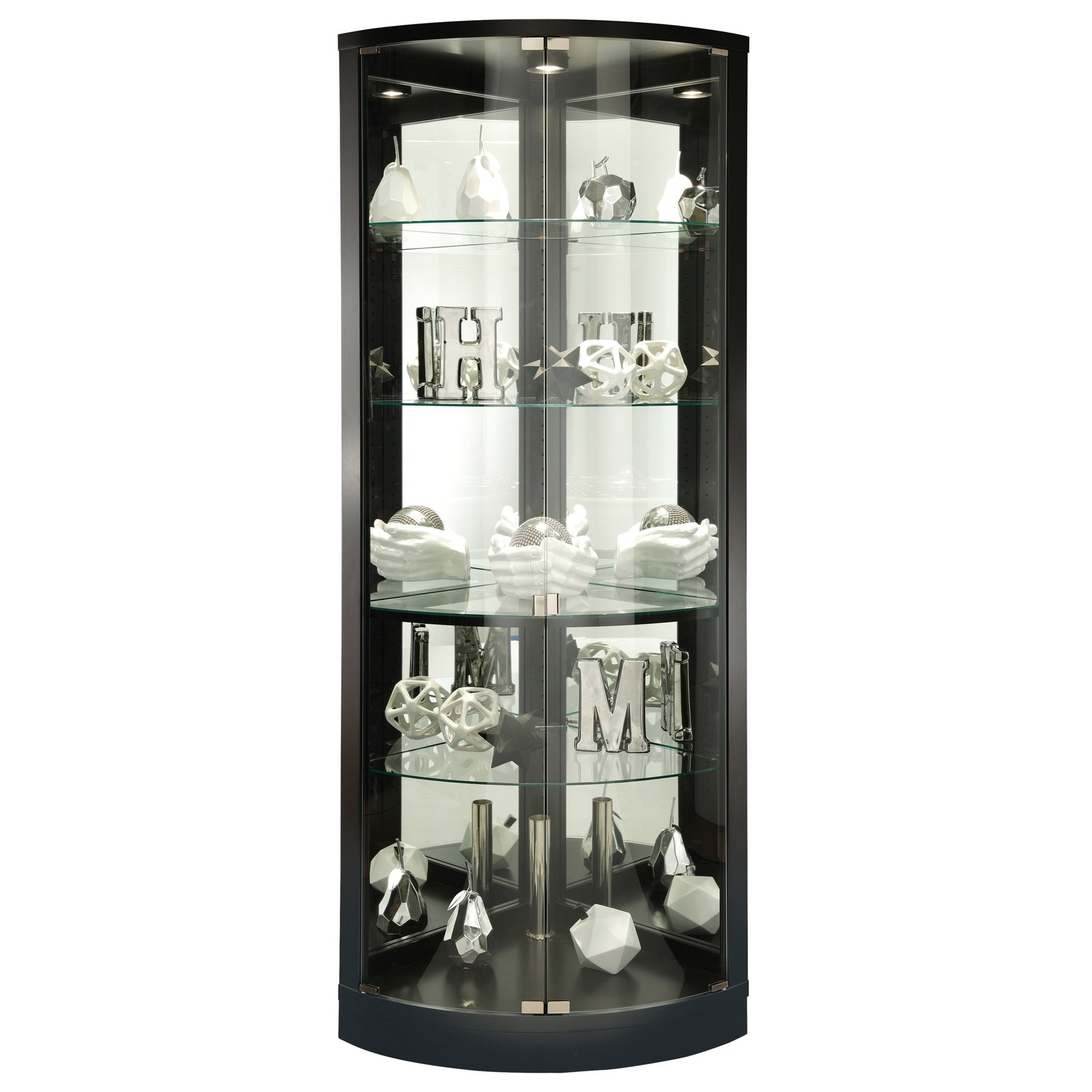 Howard Miller Jaime Black Wood Tall 5-shelf Living Room Corner Curio Cabinet