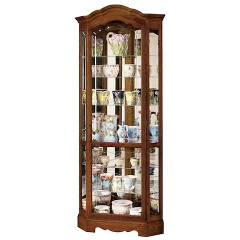 Howard Miller Jamestown II Light Brown Wood Tall 5-Shelf Living Room Corner Curio Cabinet Shaped Crown